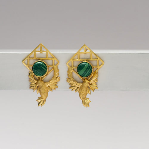 Malachite bric a brac birds earrings - Ssoul Eternal You