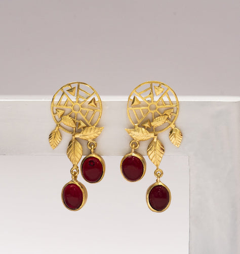 Red stone triangle circle leaf droplet earring - Ssoul Eternal You