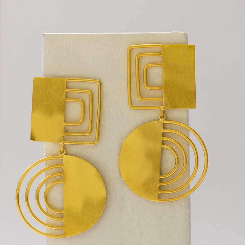 Striped Half Earrings - Ssoul Eternal You