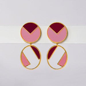 Pink & Maroon disc oval earring - Ssoul Eternal You