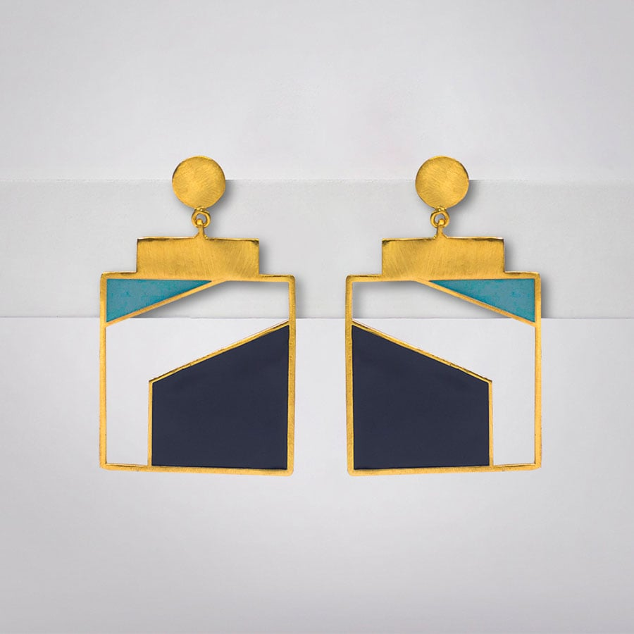 Blue Geometric Enamel Earrings - Ssoul Eternal You