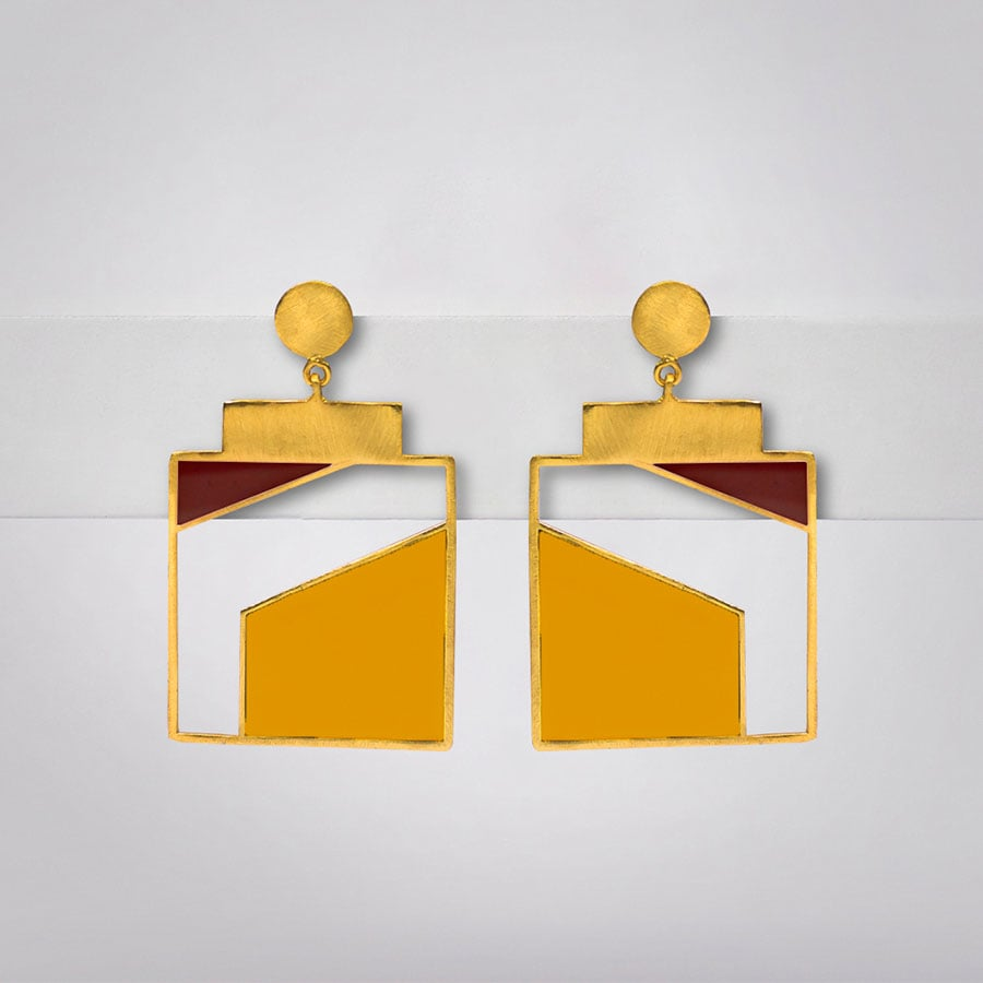 Yellow and Maroon Geometric Enamel Earrings - Ssoul Eternal You