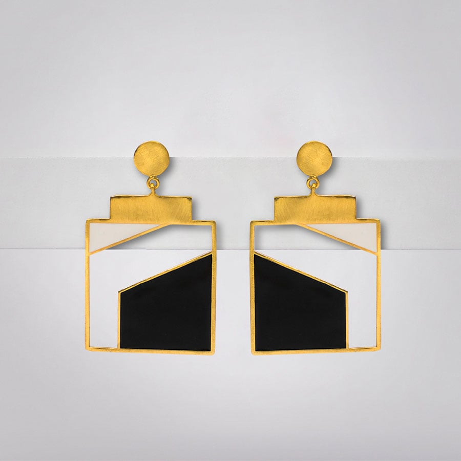 White and Black Geometric Enamel Earrings - Ssoul Eternal You