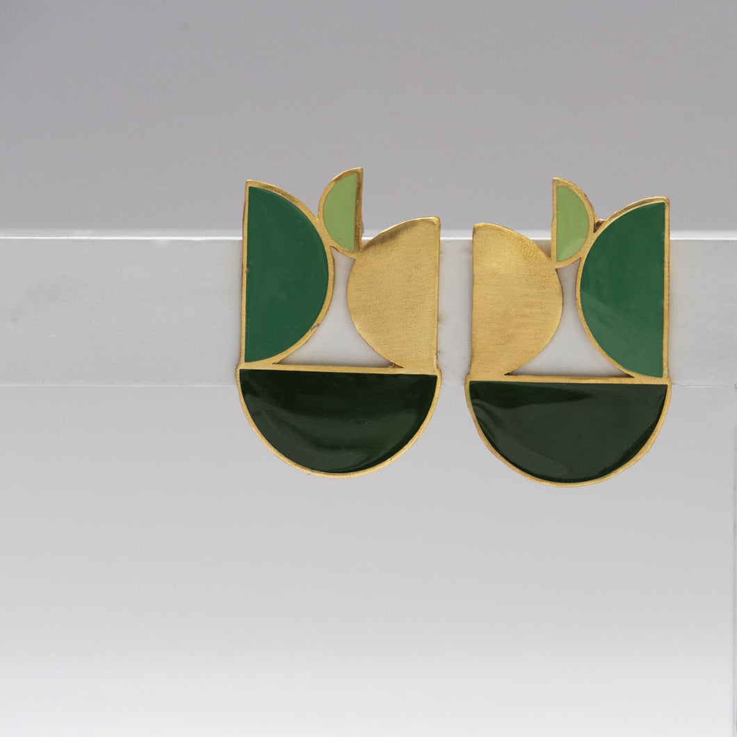 Semi Circle Shades of Green Enamel Earrings - Ssoul Eternal You