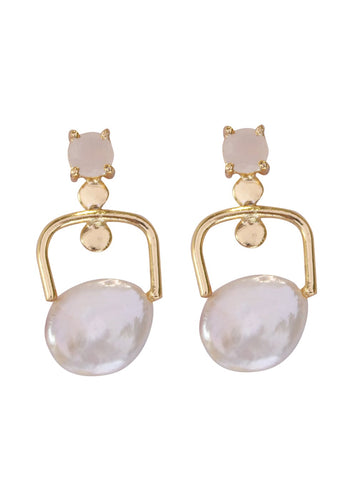 Rose Quartz Stud Drop Earrings - Ssoul Eternal You