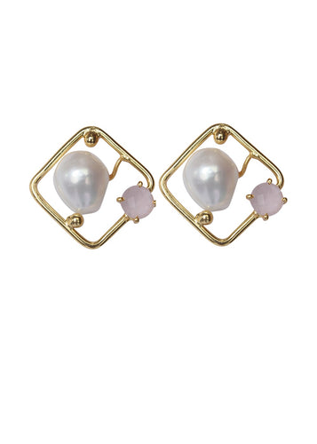 Baroque & Rose Quartz Rhombus Studs - Ssoul Eternal You