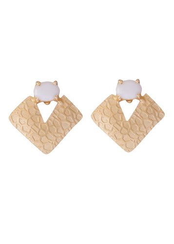 Moonstone Textured Geometric Earrings - Ssoul Eternal You