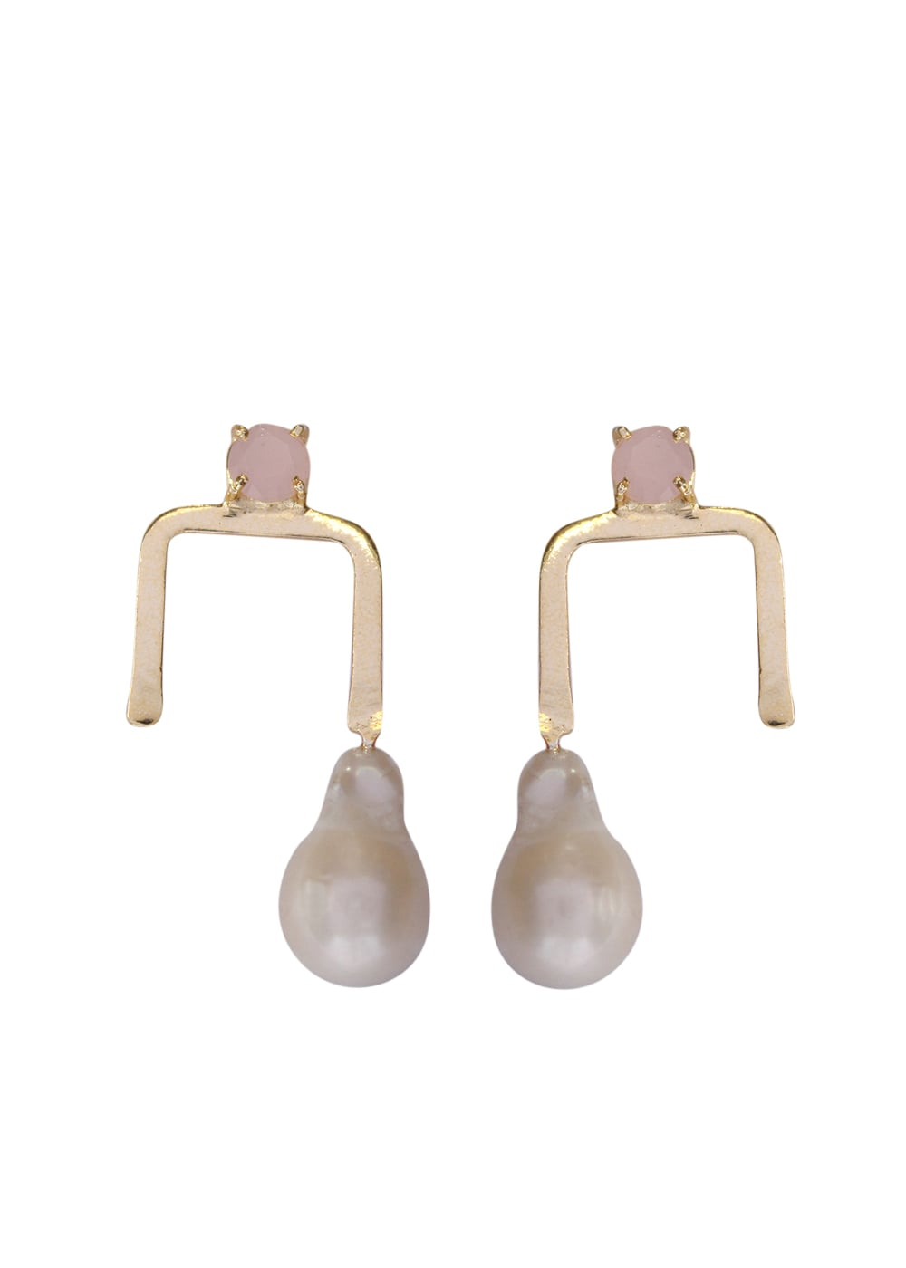 Rose Quartz Baroque Drop Earrings - Ssoul Eternal You