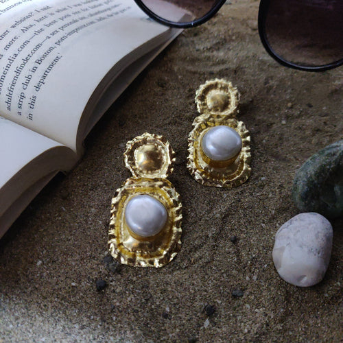 Single Pearl Circular Fringed Earrings - Ssoul Eternal You