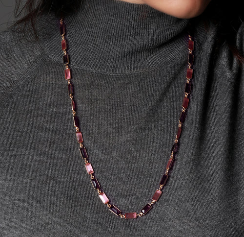 Rectangular Stone Necklace in Pink and Purple - Ssoul Eternal You