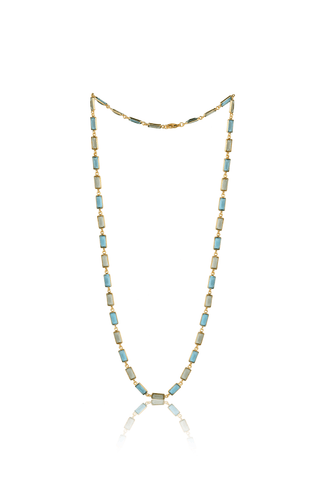 Rectangular Stone Necklace in Green and Blue - Ssoul Eternal You