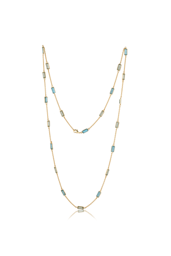 Long Stone Necklace in Green and Blue - Ssoul Eternal You