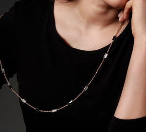 Long Stone Necklace in Black and White - Ssoul Eternal You