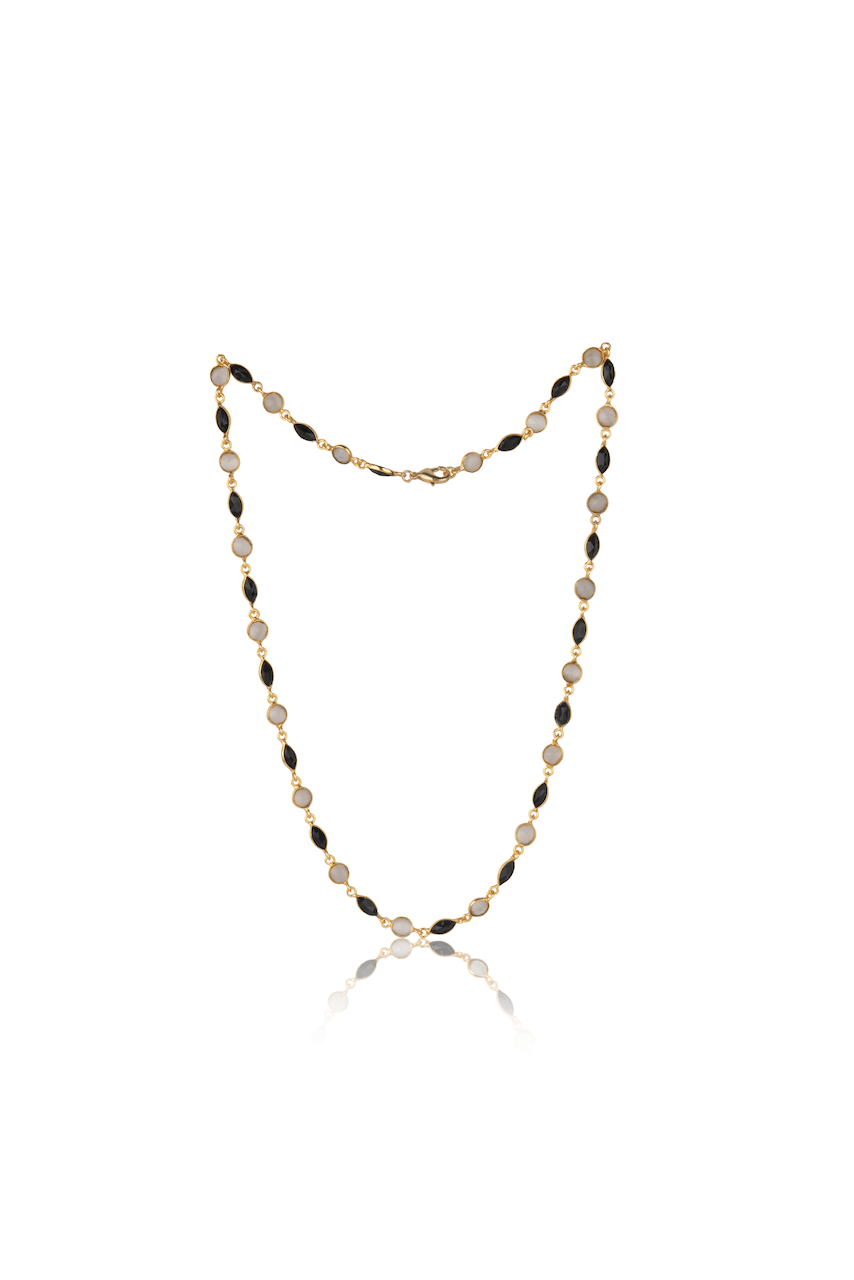 Marquee Cut Necklace in Black and White - Ssoul Eternal You
