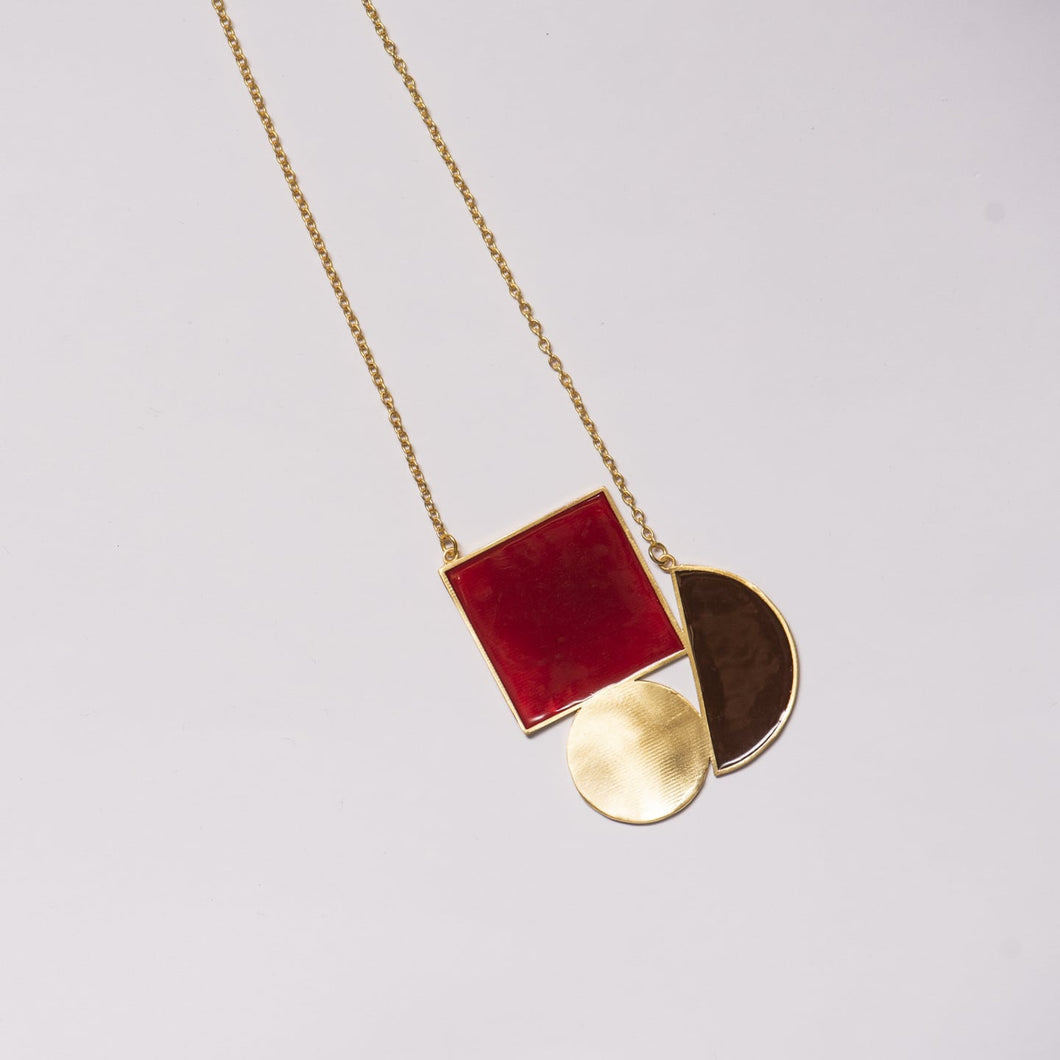 Maroon Geometric Melange Necklace - Ssoul Eternal You