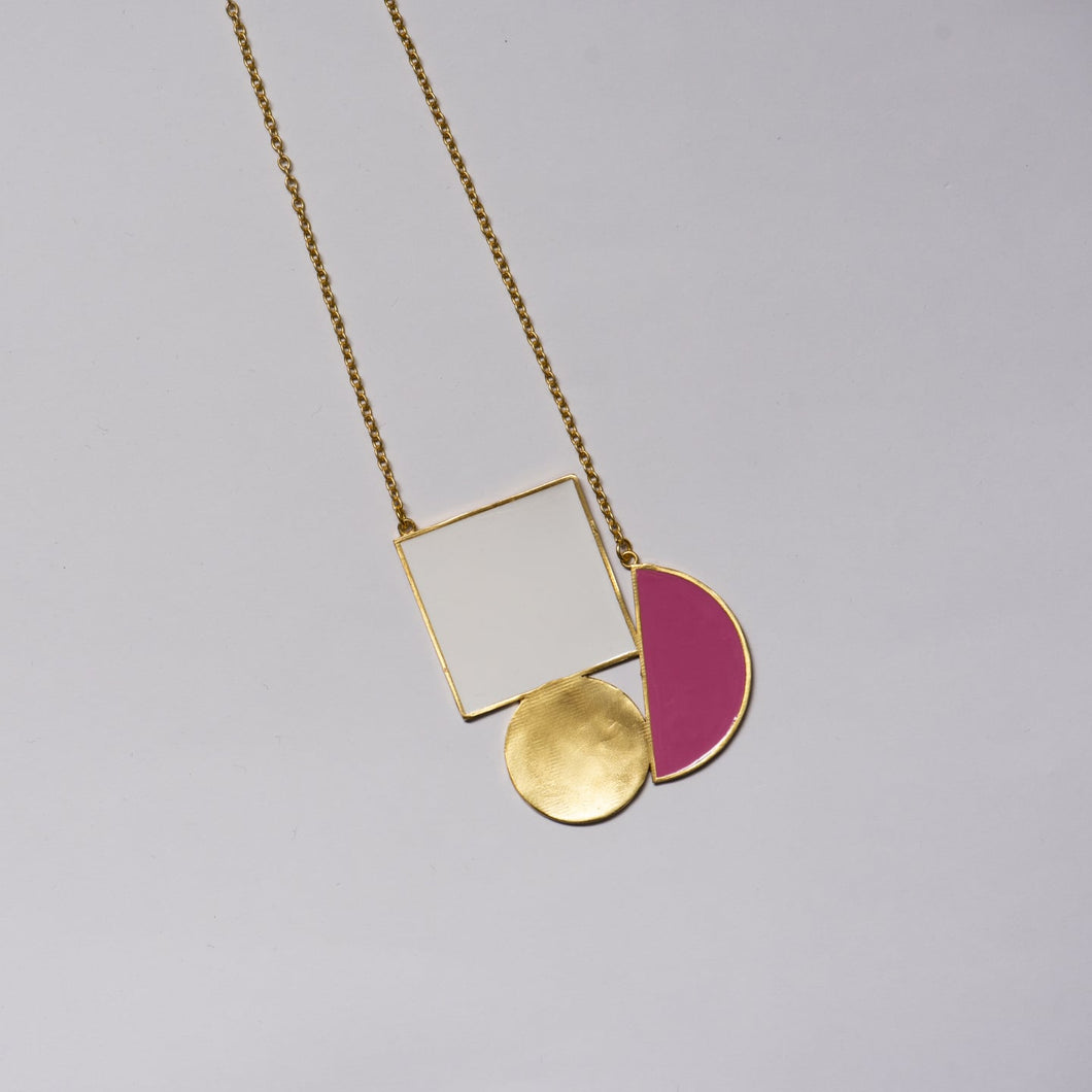 White and Pink Geometric Melange Necklace - Ssoul Eternal You
