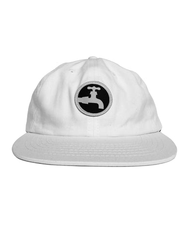 6-Panel Woven Patch Hat - White