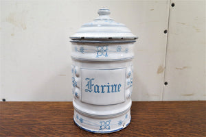 french enamel flour canister