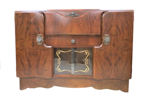Vintage English Burled Walnut Cocktail Bar Sideboard With Stencilled Glass