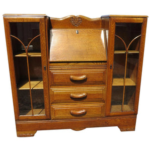 Tiger Oak Secretary With Side By Side Display Cabinets