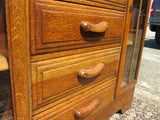 Vintage English Oak Drop Front Secretary With Side By Side Display Cabinets