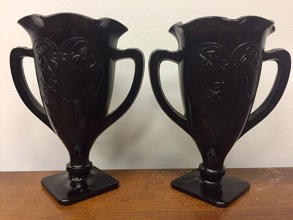 Black Milk Glass Vases Dancing Women