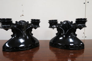 LE Smith Black Glass Double Shield Candle Holders