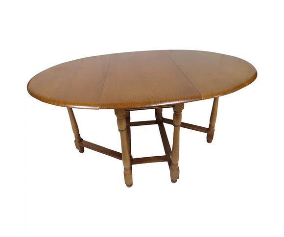 Vintage English Solid Wood Gate Leg Drop Leaf Oval Dining Table