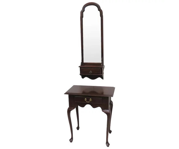 Ethan Allen Cherry Entryway Piece With Matching Mirror