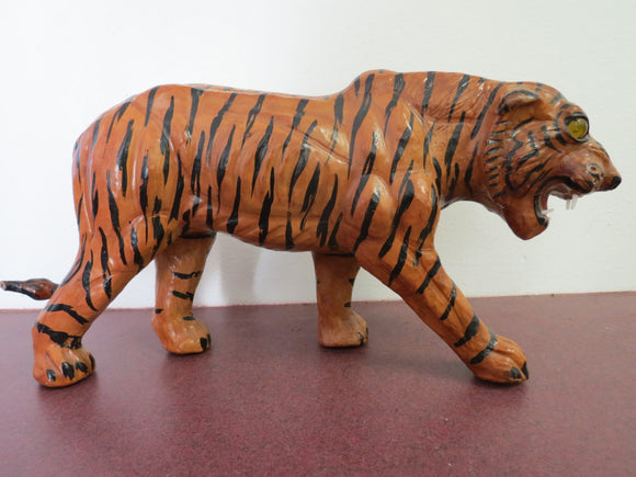 Vintage Painted Leather Tiger With Glass Eyes