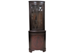 Vintage English Inlaid Mahogany Corner Cabinet With Glass Fretwork Door