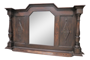 Antique English Wood Framed Beveled Mantle Mirror