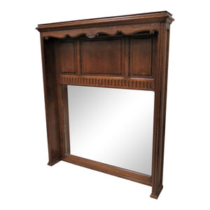 Vintage English Oak Over Mantle Beveled Mirror