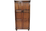 Antique English Tiger Oak Linen Fold Wardrobe or Armoire