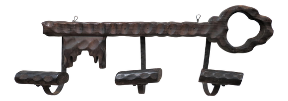 Antique French Oak and Wrought Iron Hat Rack