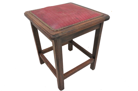 antique upholstered stool