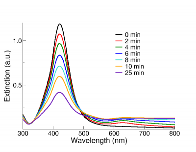 Extinction spectrum of 50 nm NanoXact silver nanoparticles undergoing aggregation.
