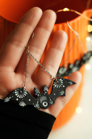 Reserved for dinocrimetime - Bat Earrings