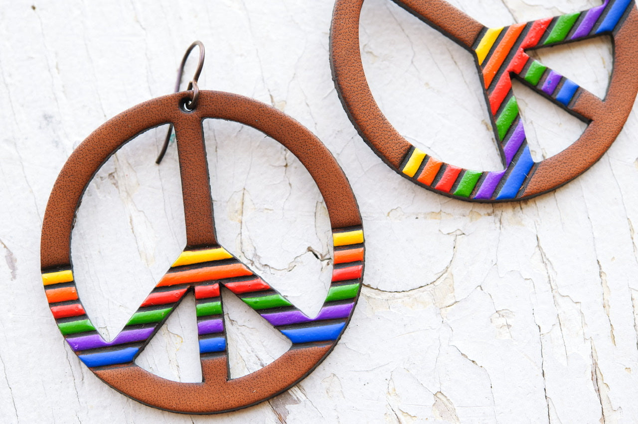 Reserved for Melani - Original Size '80s Rainbow Mood Striped Peace Sign Earrings
