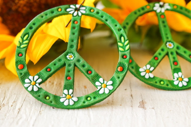 Reserved for Heather - Spring Green Daisy Peace Sign Leather Earrings