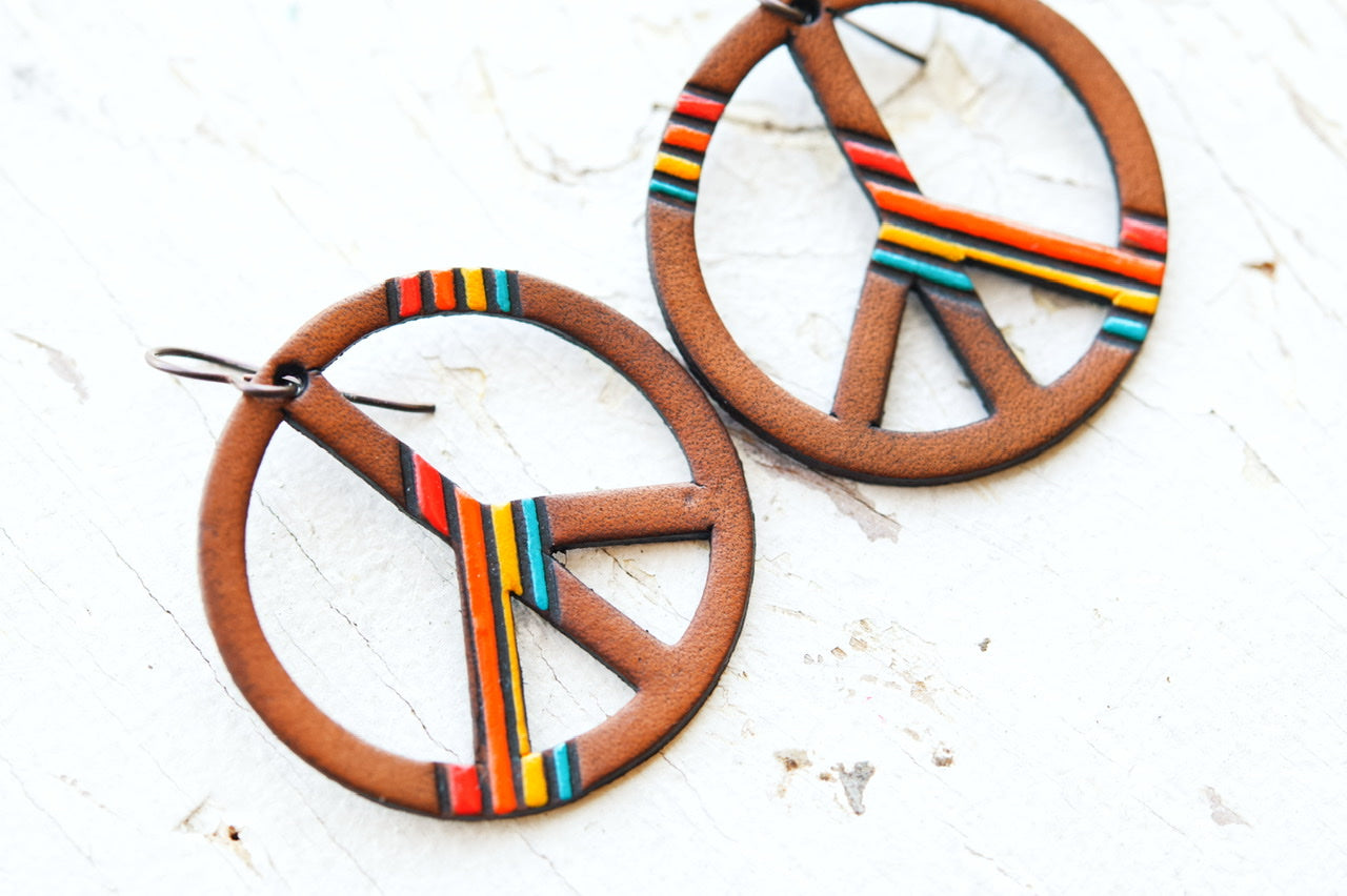 Striped Peace Sign Leather Earrings - Pick Your Size