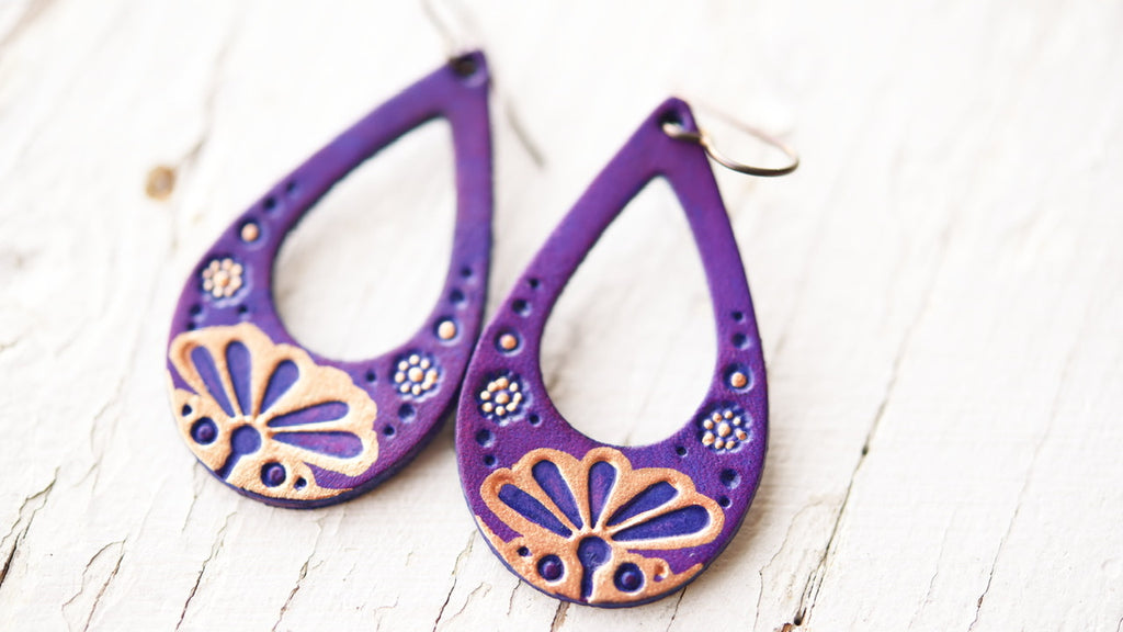 Art Deco Purple and Rose Gold Earrings