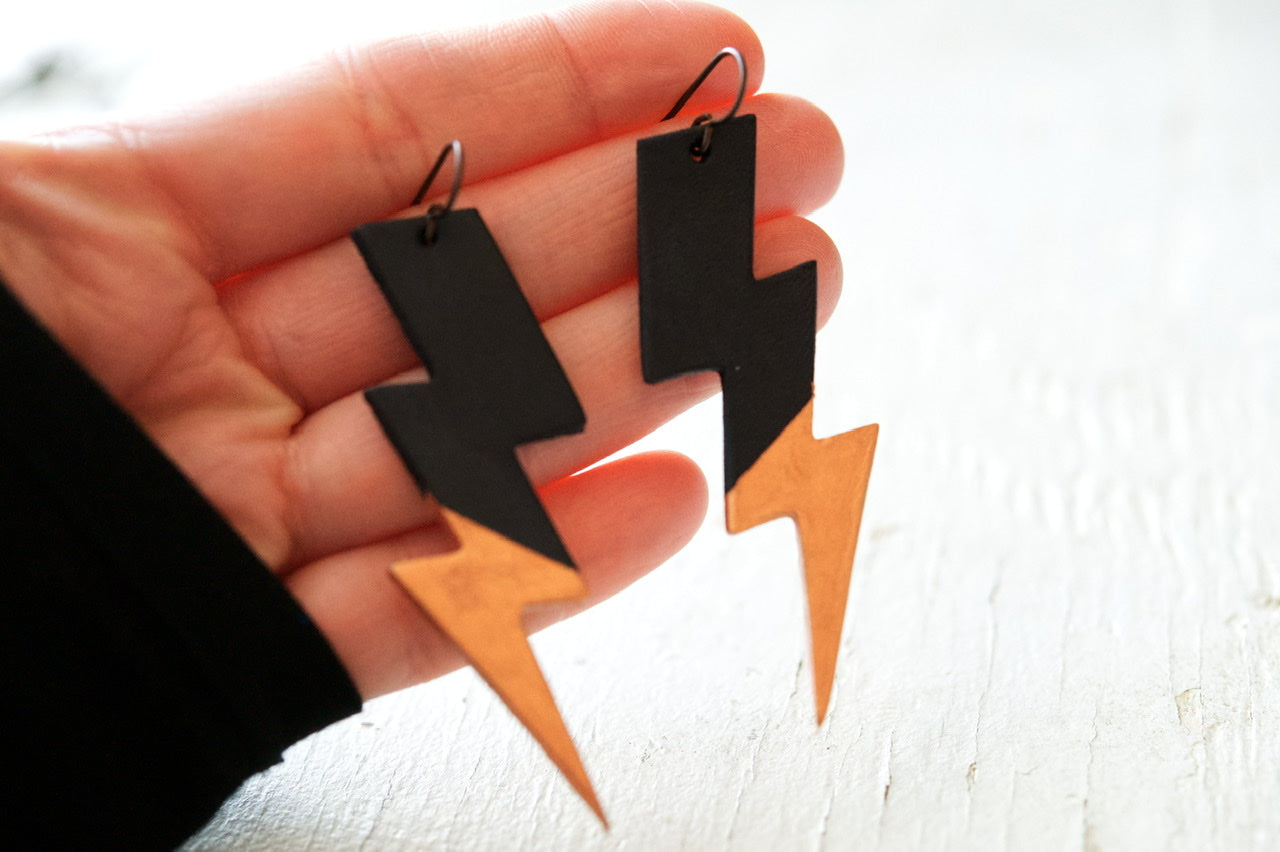 Reserved for Jessica - Rock 'n Bolt Leather Earrings - Black and Rose Gold