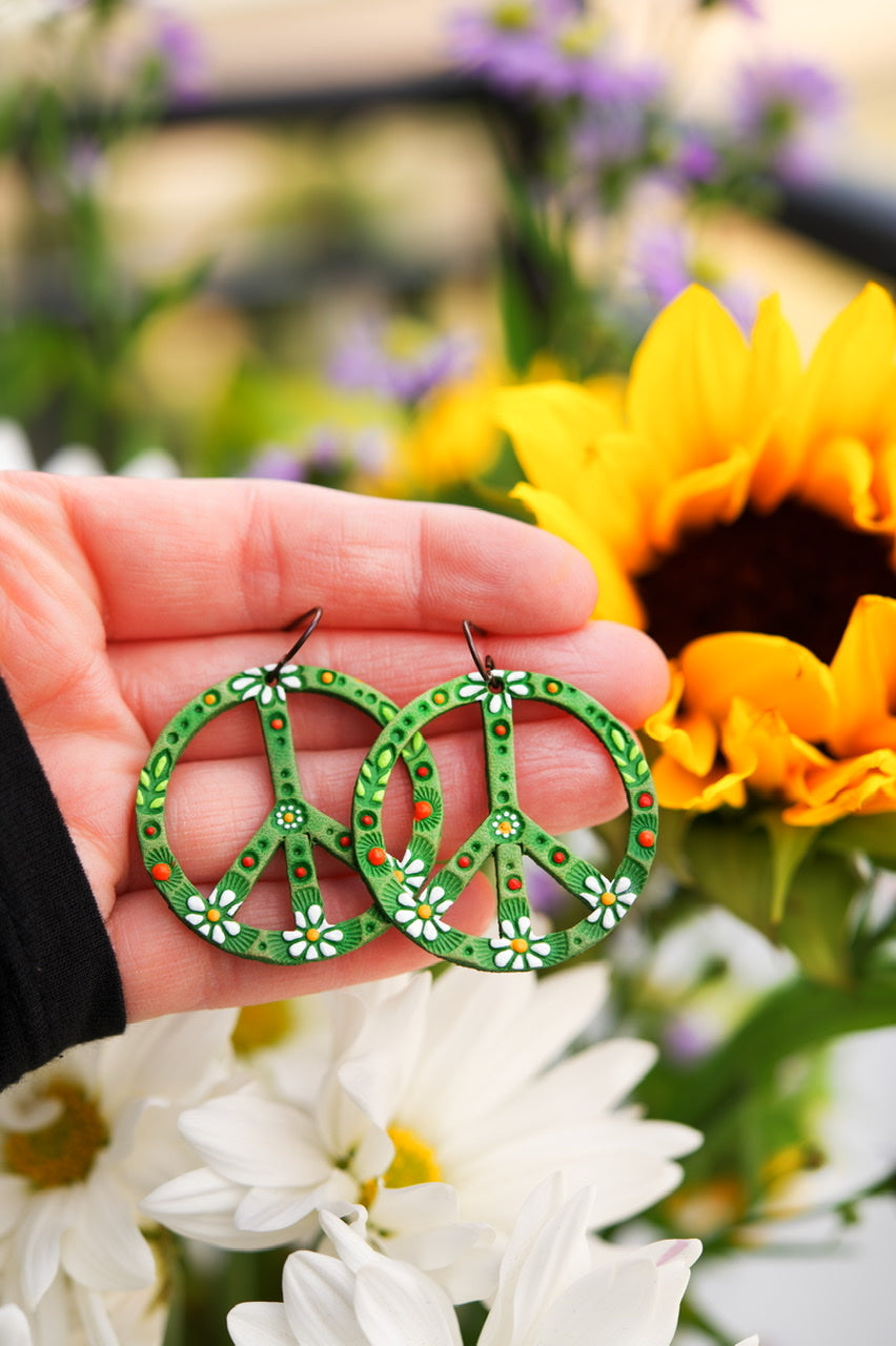 Reserved for Laura - Baby Spring Green Daisy Peace Sign Leather Earrings