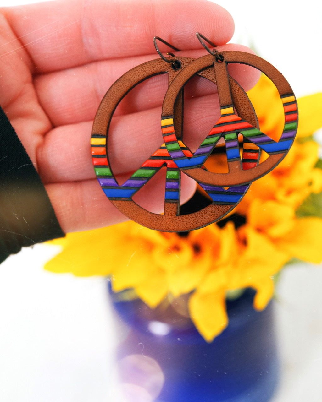 '80s Rainbow Mood Striped Peace Sign Earrings - Pick Your Size