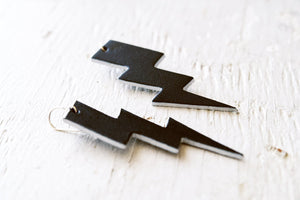 Rock 'n Bolt Leather Earrings - Black and Silver