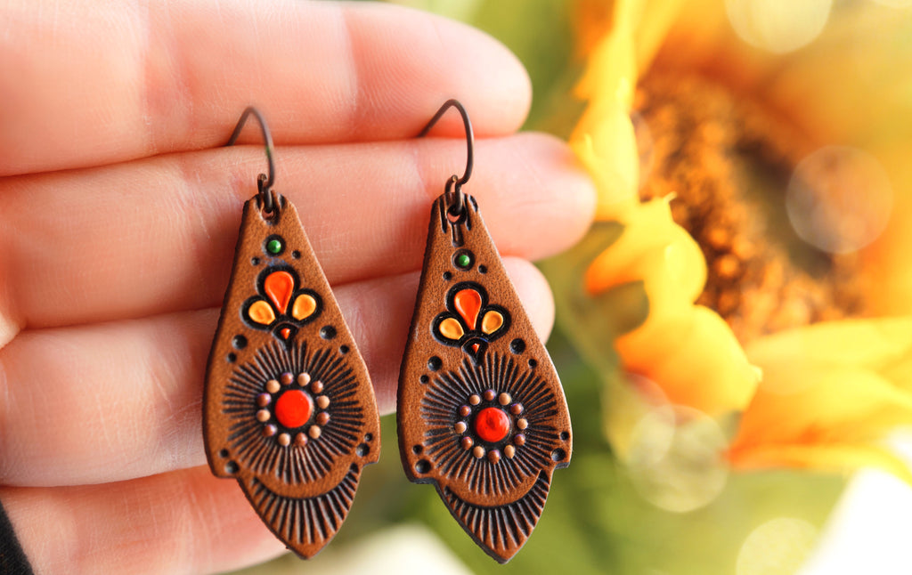 Tangerine Dream Floral Leather Earrings