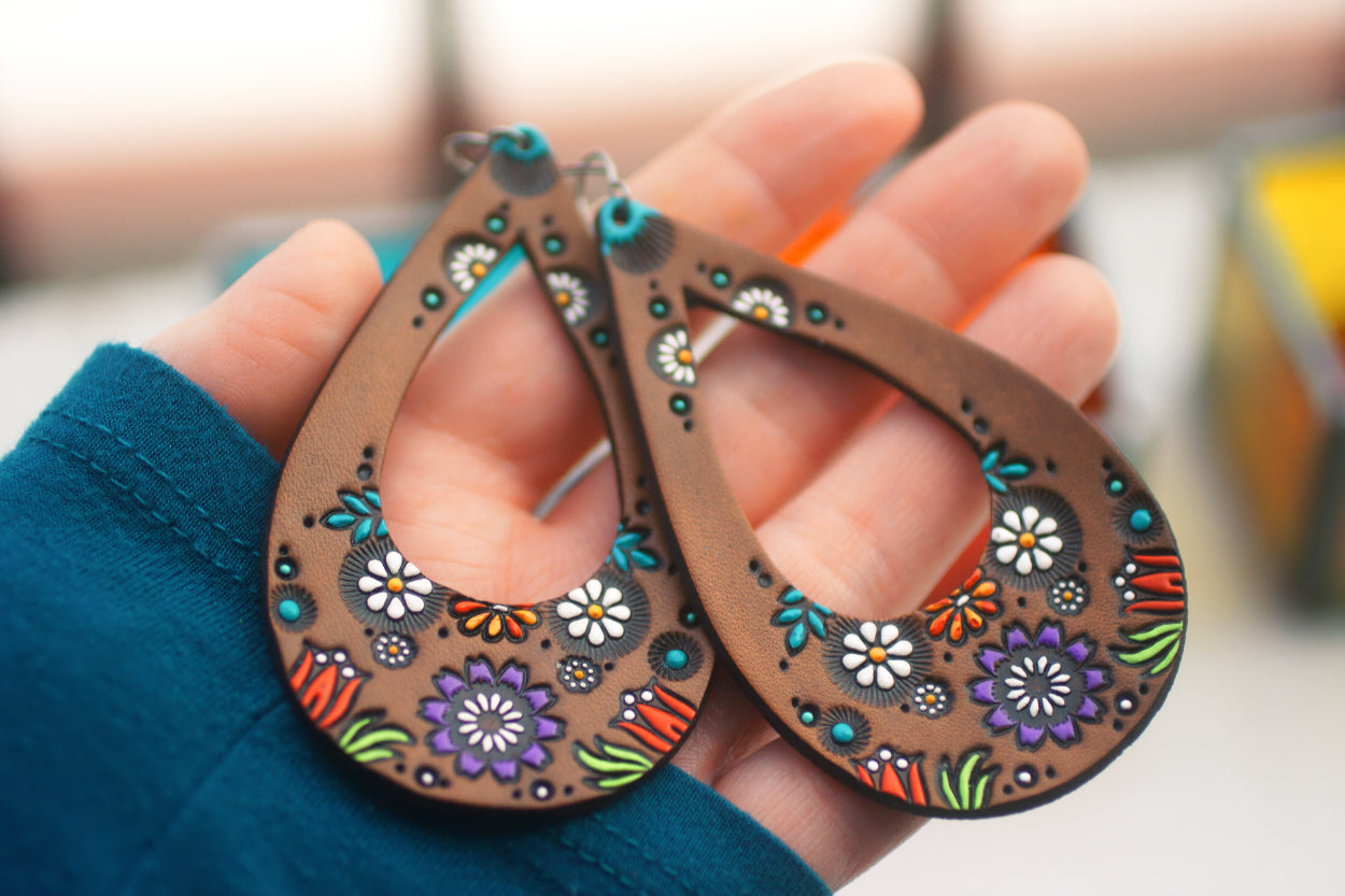 Teardrop Wildflower and Daisy Leather Earrings