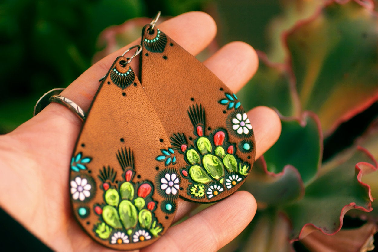 Teardrop Cacti and Daisies Leather Earrings