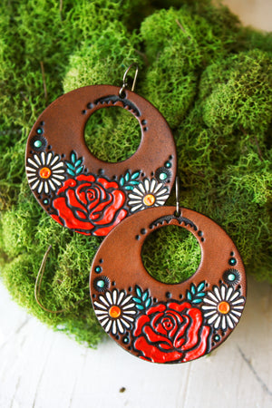Gypsy Rose Leather Earrings